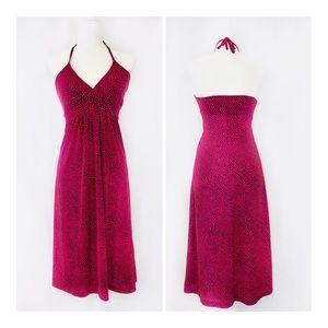 Veronica M v neck pink dot halter tie dress. S